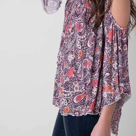 Free People Cold Shoulder Boho Flowy Blouse NWT